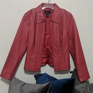 Red leather jacket! Perfect for a holiday party.